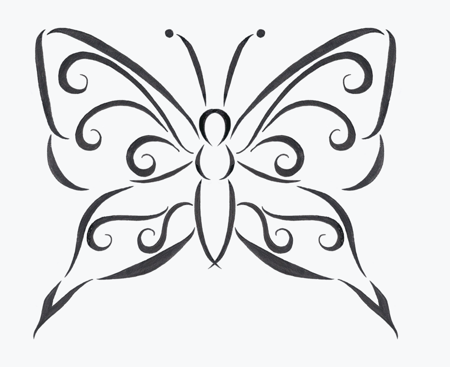 Line Drawing Butterfly Tattoo : Impressive grey line butterfly tattoo design by disco
