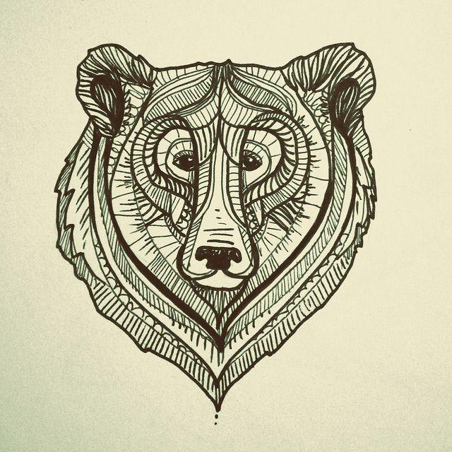 Impressive grey-line grizzly muzzle tattoo design