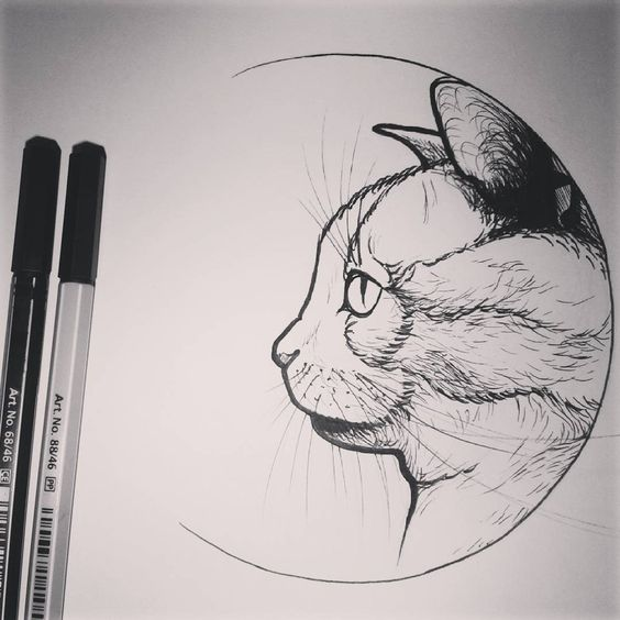 Impressive grey-pencil cat in half-moon frame tattoo design