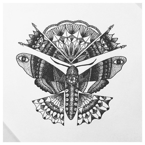 Impressive grey mandala-patterned moth tattoo design