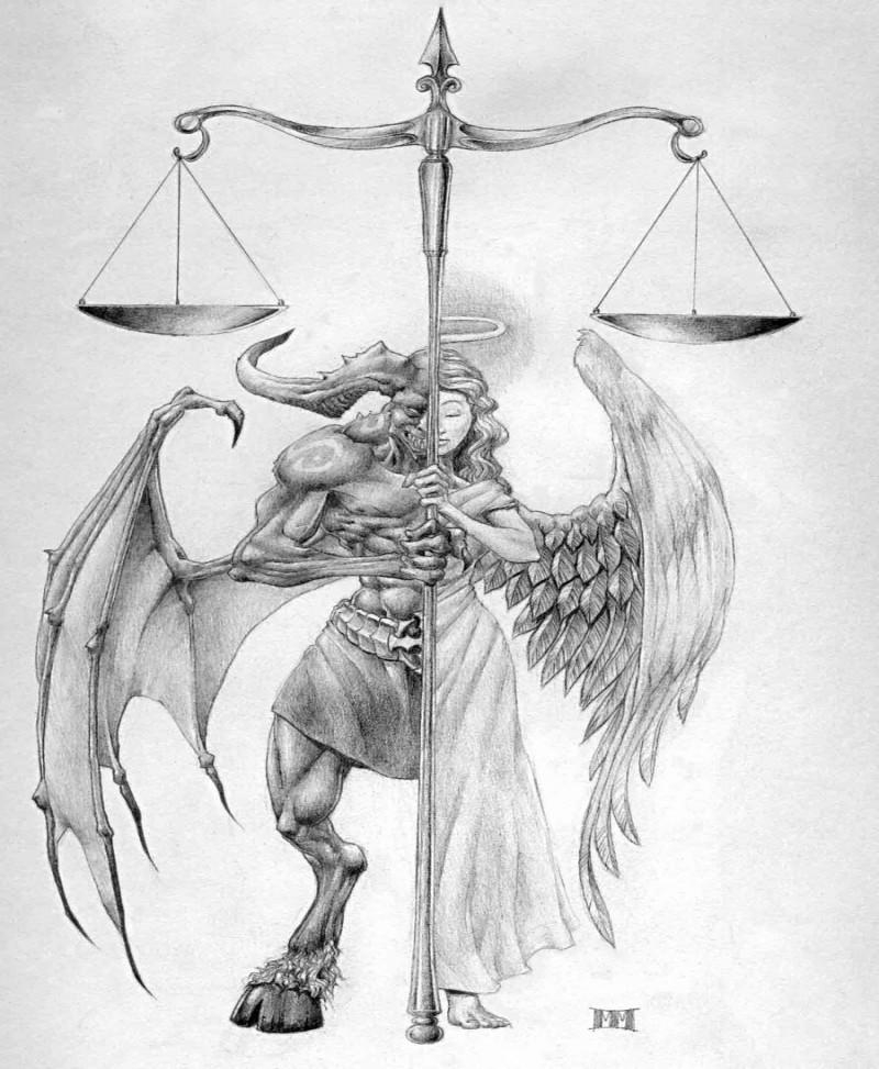 Impressive half-angel half-demon with a huge scales tattoo design