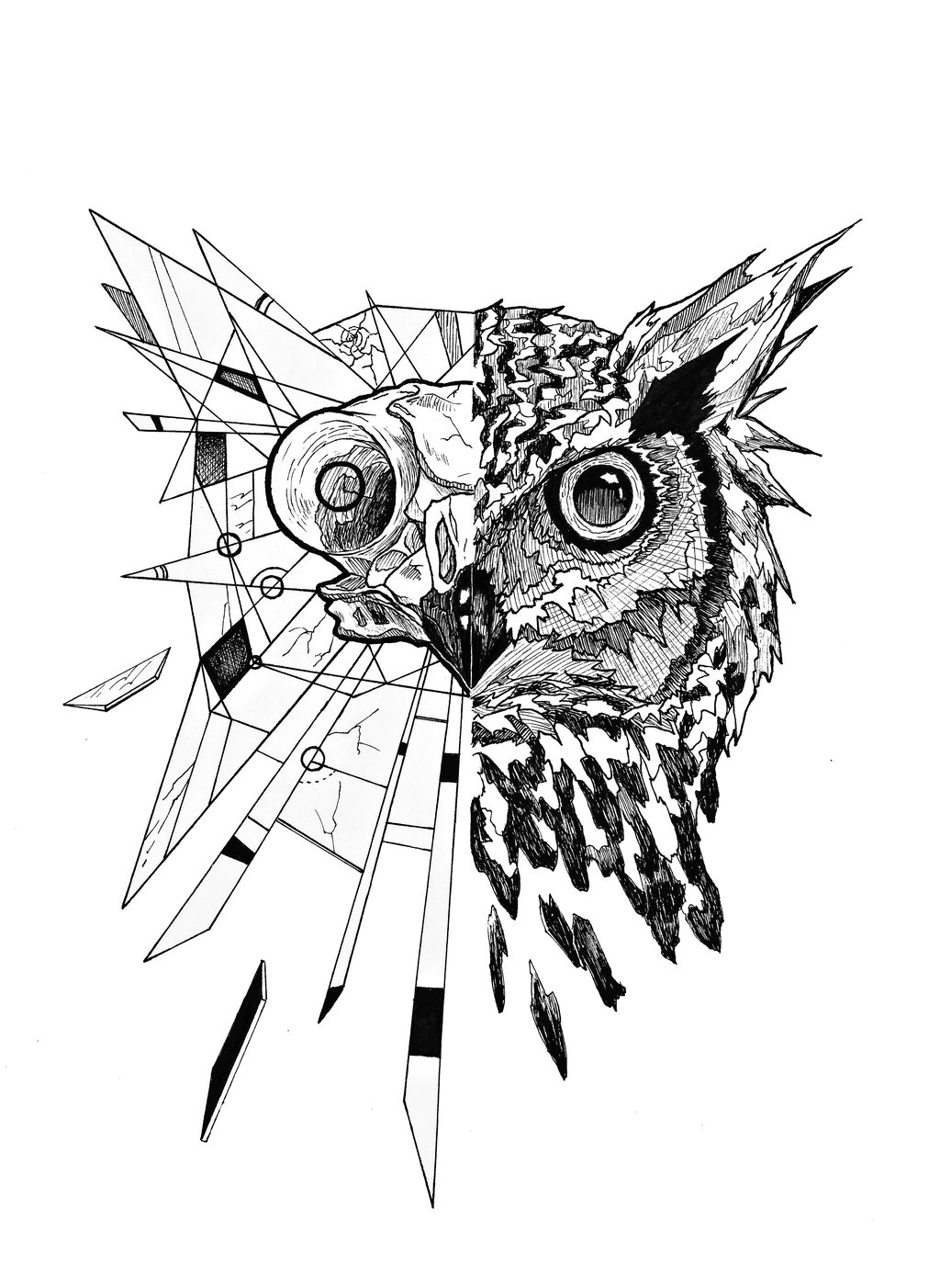 Impressive half-geometric owl tattoo design by Junbenliesor