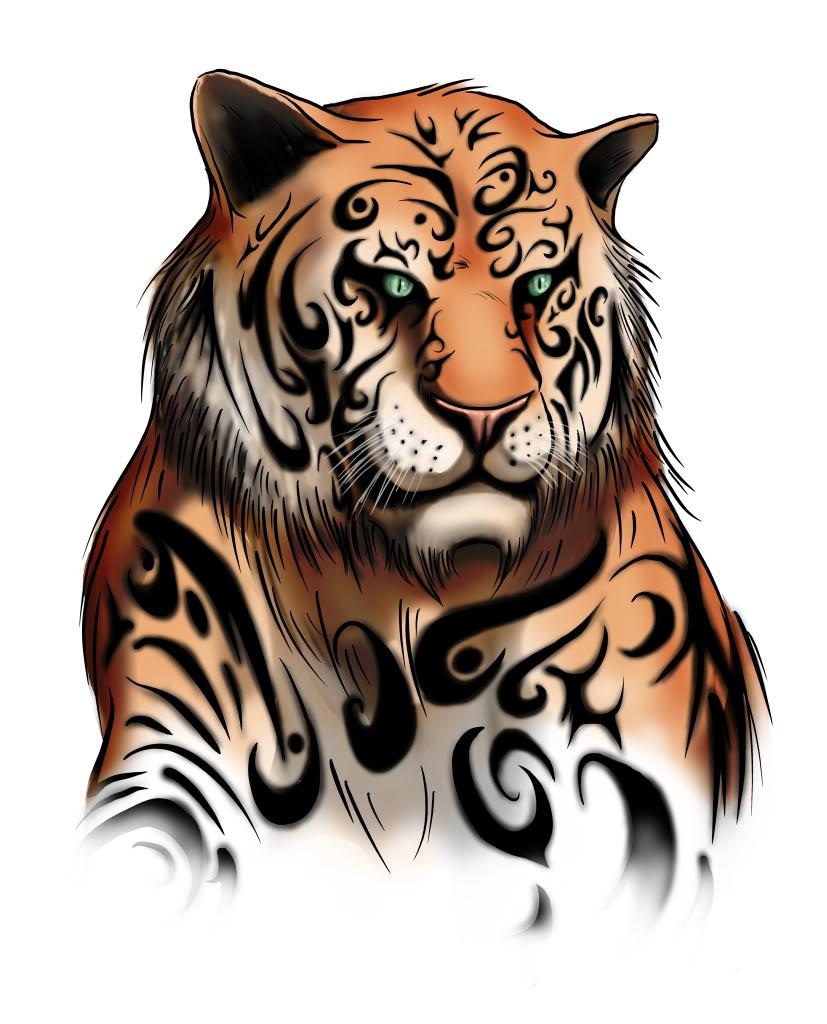 Impressive manga tiger with turquoise eyes tattoo design