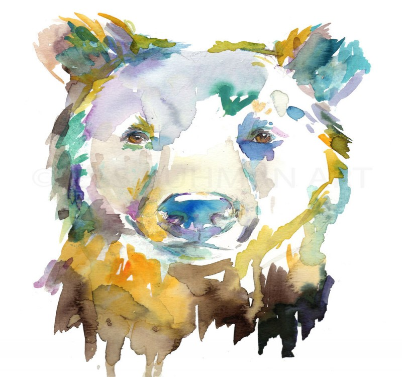Impressive montly watercolor grizzly potrait tattoo design