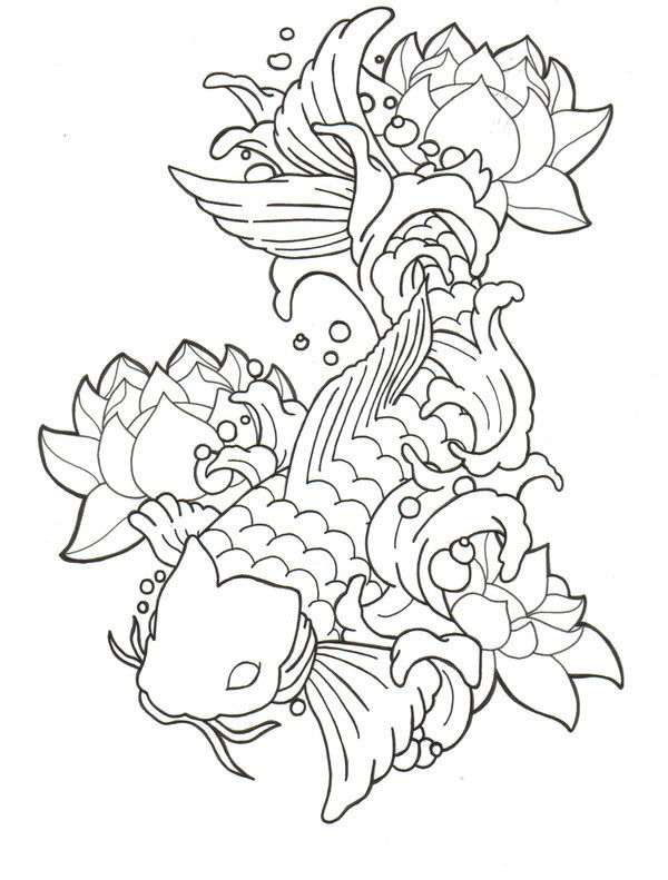 Impressive outline koi fish surrounded with lotuses tattoo design