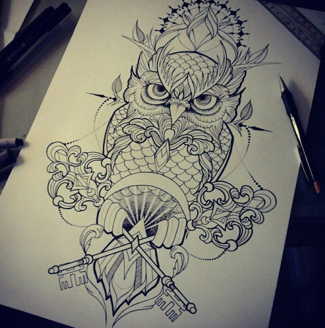 Impressive owl with crossed keys tattoo design