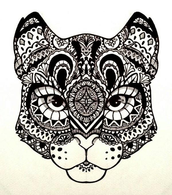 Impressive patterned snow leopard muzzle tattoo design by Laia Flores Iledo