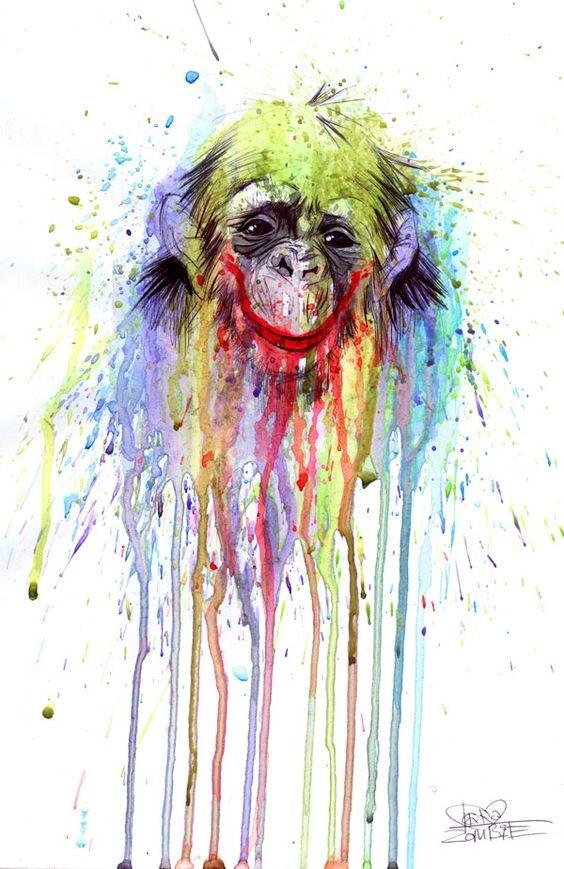 Impressive rainbow watercolor monkey tattoo design