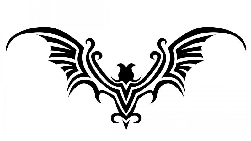 Impressive tribal bat emblem tattoo design