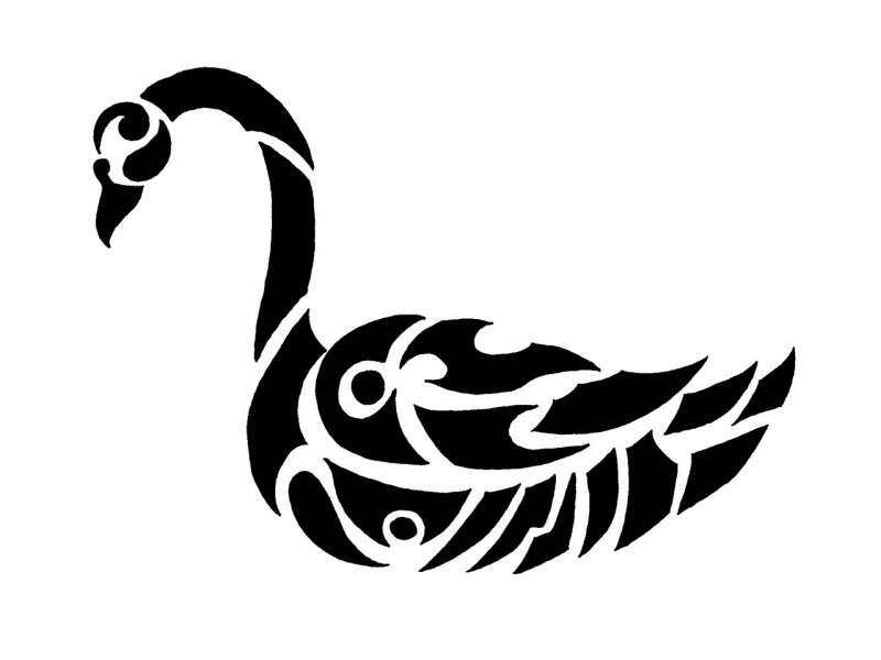 Impressive tribal swan tattoo design
