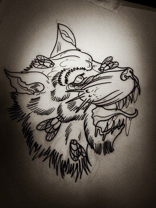 Impressive uncolored wolf head and flies tattoo design