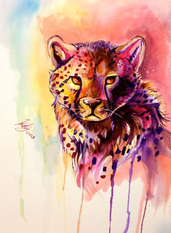 Impressive watercolor cheetah portrait with smudges tattoo design