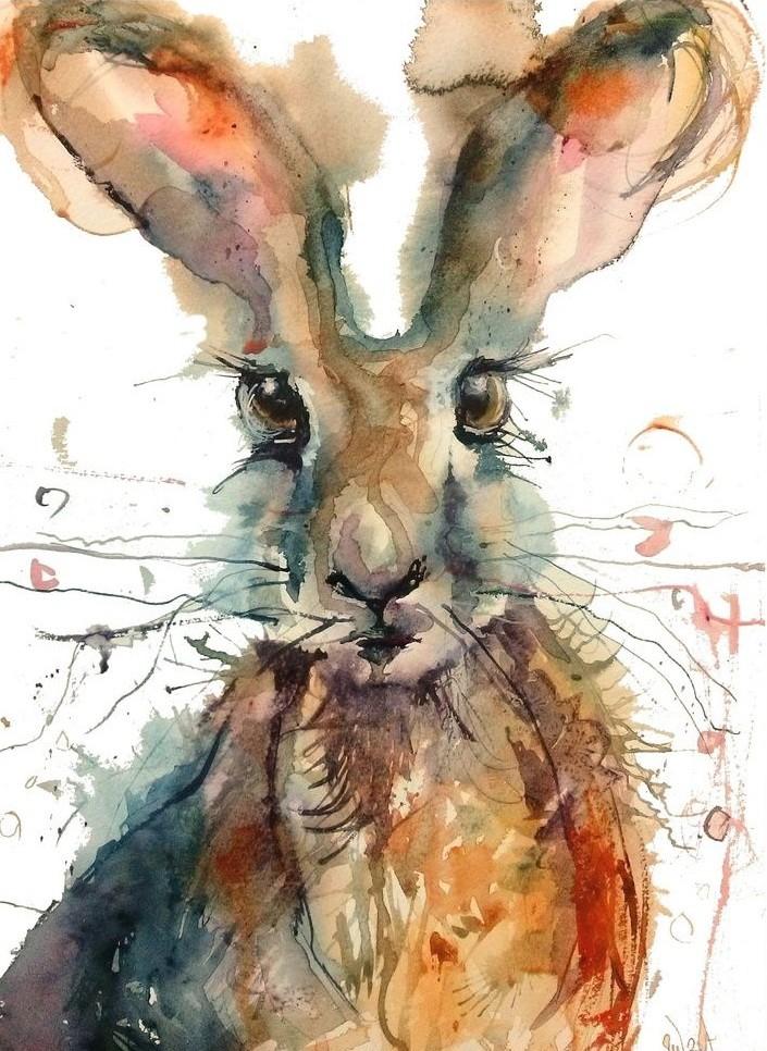 Impressive watercolor kind-eyed hare portrait tattoo design