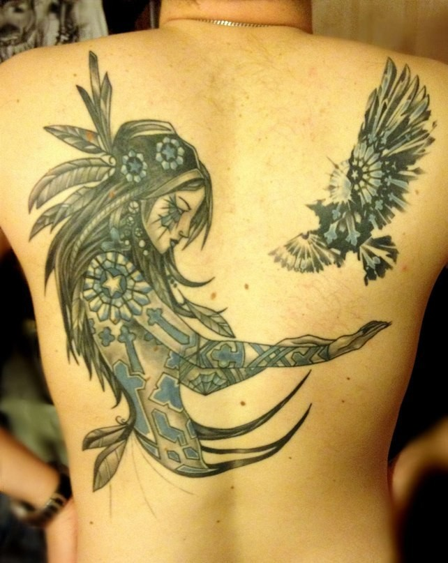 Indian girl and a bird tattoo on back