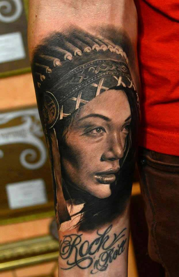 Indian girl tattoo on forearm