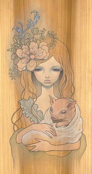 Indifferent golden-haired girl keeping pig baby in hands tattoo design