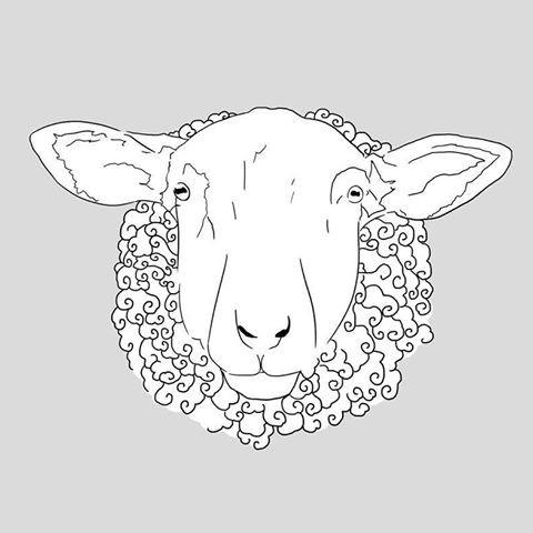 Indifferent uncolored sheep portrait tattoo design
