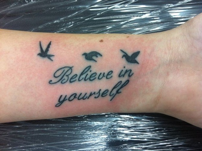inspire believe in yourself quote with birds tattoo on arm. Black Bedroom Furniture Sets. Home Design Ideas