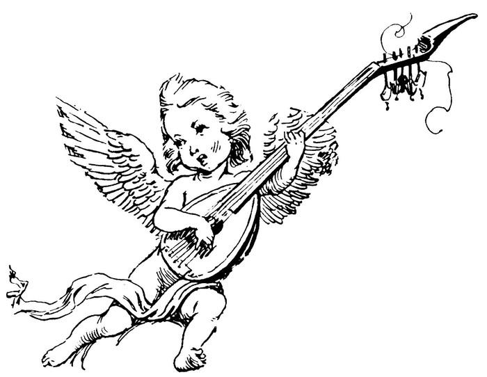 Inspired singing cherub angel playing a guitar tattoo design