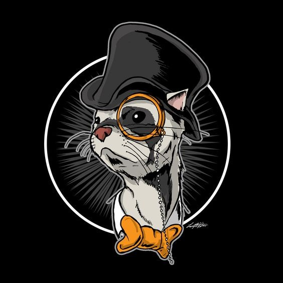Intelligent mr rodent head in hat with golden monocle tattoo design