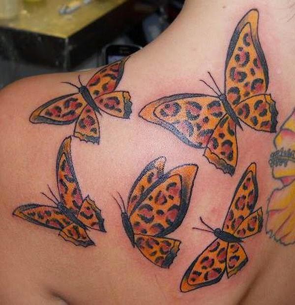 Schulter Tattoo mit interessanten Design Schmetterlingen mit Gepardenmuster für Mädels