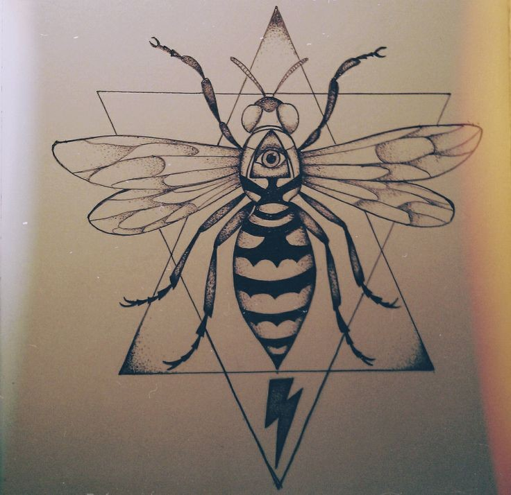 Interesting bee with illuminati print on geometric drawing background tattoo design