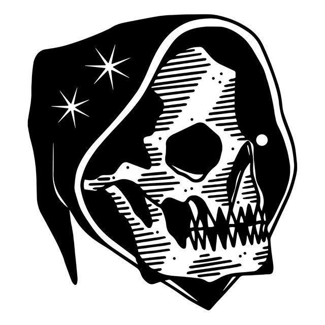Interesting black-ink death head wearing a star-printed hood tattoo design