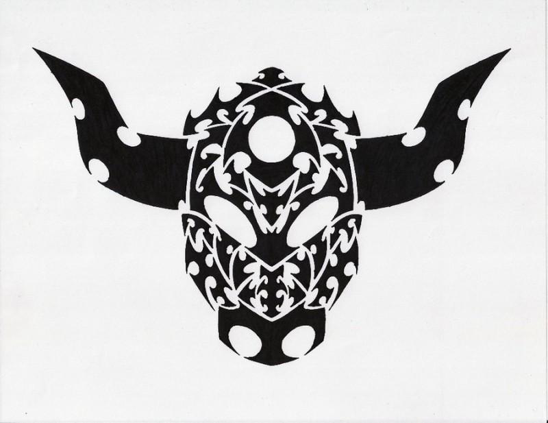 Interesting black celtic bull tattoo design by Rekka70