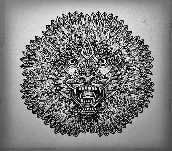 Interesting black lion muzzle with geometric elements tattoo design