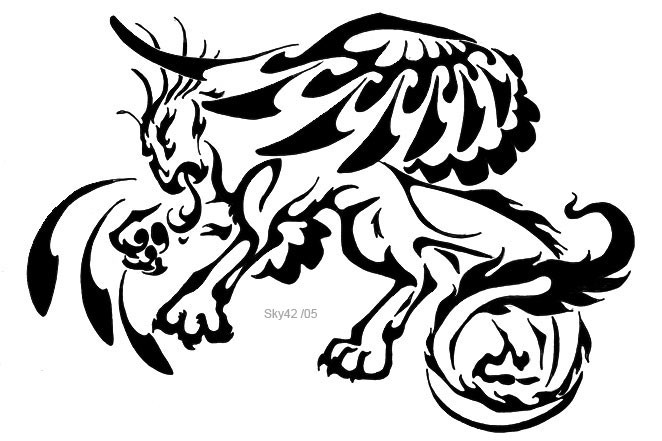 Interesting black tribal griffin tattoo design by Echofactor42