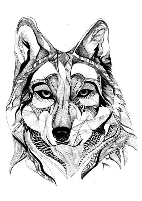 Interesting calm grey-pencil wolf with pattern tattoo design