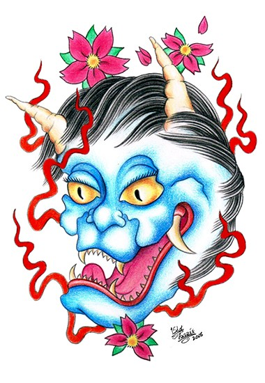 Interesting colored cat devil with red stripes and cherry blossom tattoo design