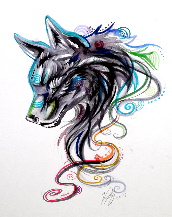 Interesting colorful swirly wolf head design by Lucky978