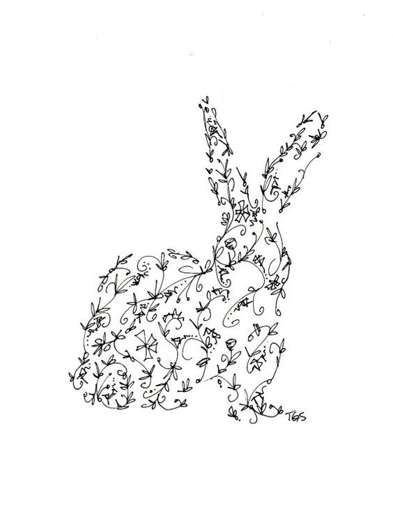 Interesting difficult-patterned hare silhouette tattoo design