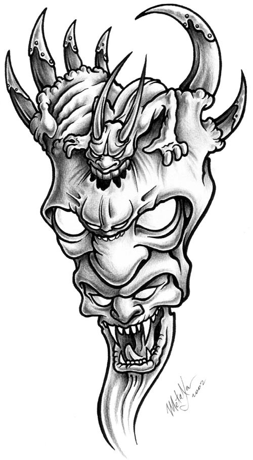 Interesting grey-ink demon piramyd tattoo design