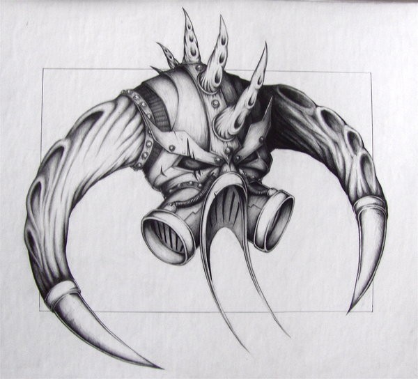 Interesting grey-ink horned demon head tattoo design by Chaos Fox