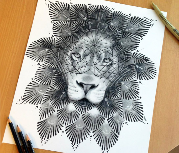 Interesting grey lion with geometric drawing on face tattoo design