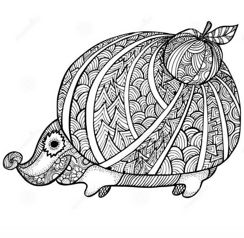 Interesting outline patterned hedgehog with an apple on back tattoo design