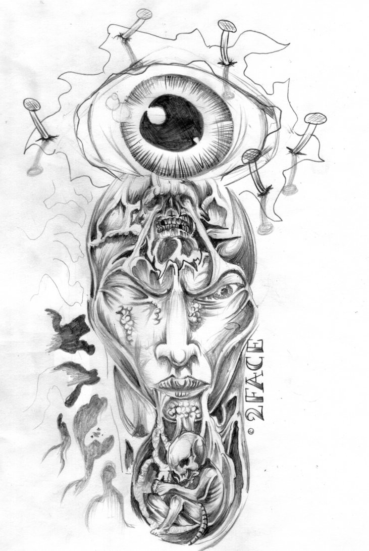 Interesting pencilwork detailed demon tattoo design