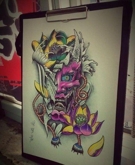 Interesting purple-skin devil with big lotus buds tattoo design