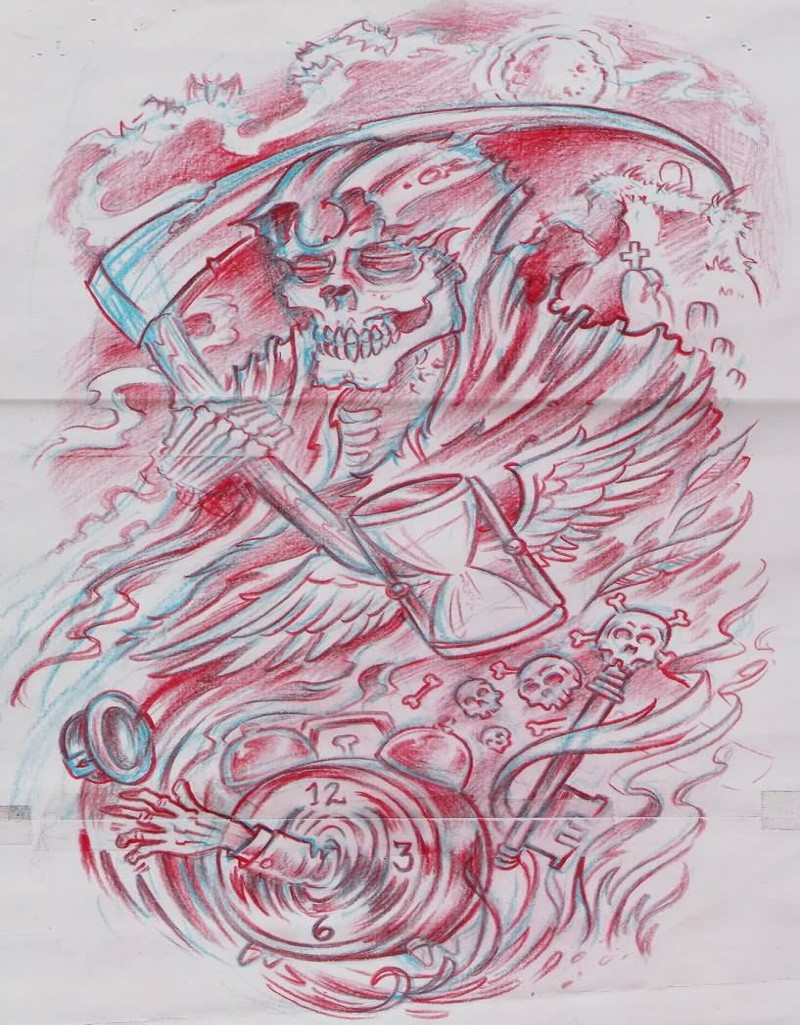 Interesting red-ink detailed death with falling hourglass and clock tattoo design