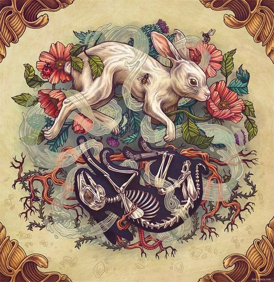 Interesting white and blach hares curled with smoke on floral background tattoo design