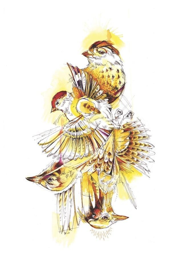 Interesting yellow watercolor bird flock tattoo design