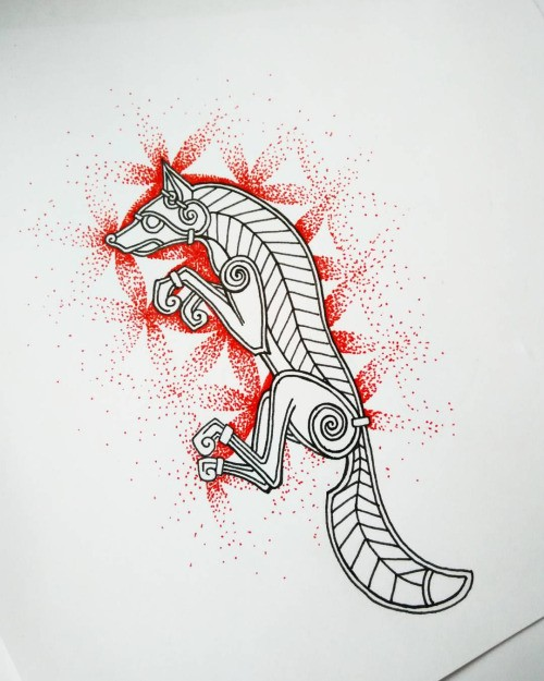 Iron fox figure on red flowers of life background tattoo design