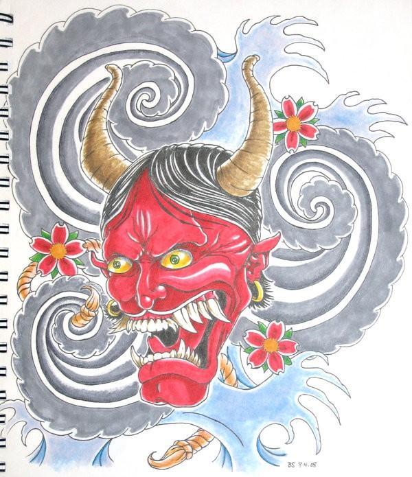 Japanese devil and cherry blossom on grey vortex background tattoo design