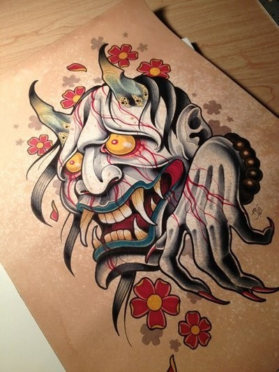 Japanese devil crying with blood and falling cherry blossom tattoo design