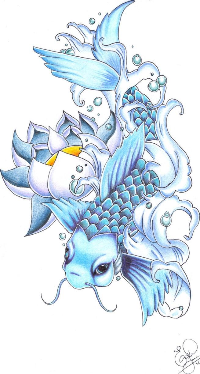 Japanese koi fish and big lotus in blue color tattoo design by erika japanese koi fish and big lotus in blue color tattoo design by erika ravanelli tattooimagesz izmirmasajfo