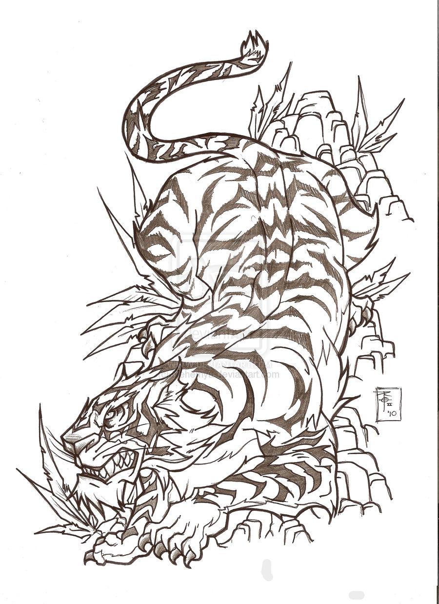 Japanese style tiger on rocks tattoo design