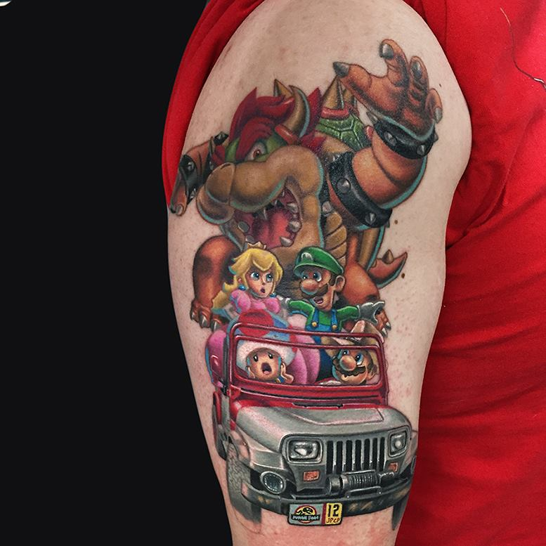 Jurassic Mario cartoon style tattoo