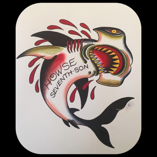 Killed old school hummer shark with lettering on belly tattoo design